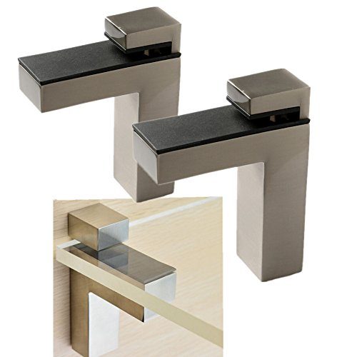 Glass Shelf Clip Kit - Windspeed 2 Set of Wood/Glass Shelf Bracket Holder/Wall Mount Panel Glass Clip Clamp, Adjustable, Brushed Nickel (Large)
