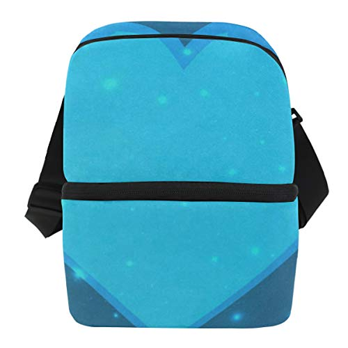 - Lunch Bag Blue Colored Hearts Portable Cooler Bag Mens Leakproof Lunch Storage Zipper Tote Bags for Outdoor
