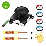 One pack 3D Left Right NS Joy con joystick Replacement , Analog Switch joyStick Repair Tool Kit Set compatiable with Nintendo Switch controller accessories repair tool kit bundle Include Tri-Wing & Cross Screwdriver Tool + 4 pokemon Thumbstick Caps