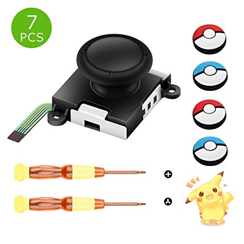 One 3D Joy con ThumbStick Controller Replacement, Joystick Analog Thumb Stick for Nintendo Switch- Include Tri-Wing & Cross Screwdriver Tool + 4 Colorful Thumbstick Caps