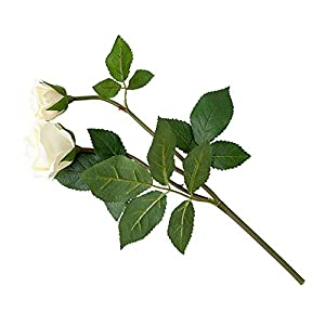 MARJON FlowersArtificial Single Flower Plant Stem White Rose White Flowers Fake Realistic Lifelike 76