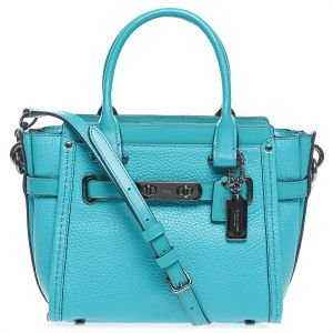 COACH Women's Pebbled Leather Coach Swagger 21 DK/Turquoise Satchel