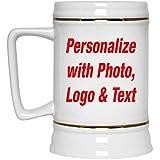 Personalized Custom Gift, Add Photo Logo Text - Beer Stein Ceramic Beer Mug Best Funny Idea for Baby Girl Wo-men Birthday B-day Christmas Xmas Engagement Wedding Anniversary