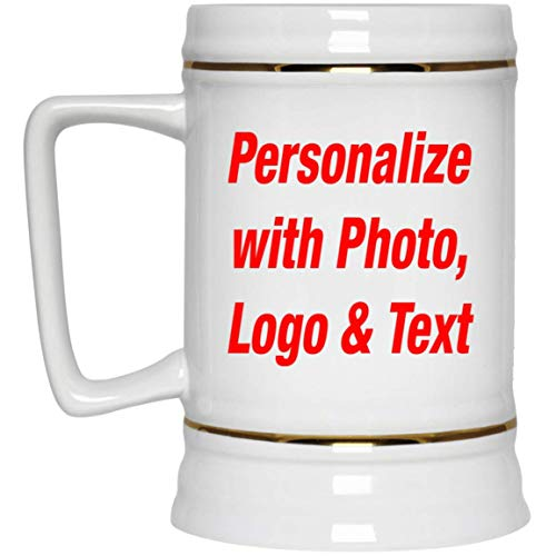 Ceramic Tankard - Personalized Beer Stein - Add Your Photo Text Logo Design - 22oz Ceramic Bar Mug Tankard - Custom-ized Gift for Friend Mom Dad Kid Son Daughter Mother's Father's Day Birthday Anniversary