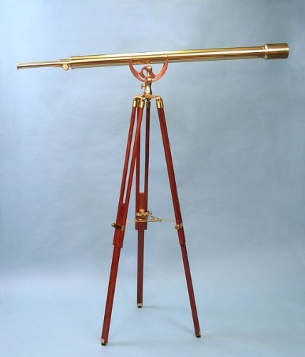 55-inch Clear Coated Solid Brass Harbormaster Telescope on Mahogany Tripod by Stanley London