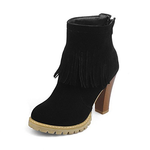 Low Boots Frosted Top Allhqfashion High Closed Black Toe Women's Heels Round Solid Yxv8xO0n