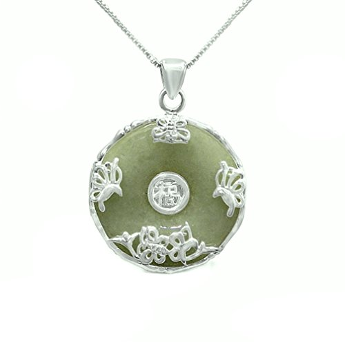 Sterling Silver Empire STERLING SILVER NECKLACE DONUT (Pi) SHAPE NATURAL GREEN JADE LUCKY CHARM WITH HAPPINESS BLESSING WORD
