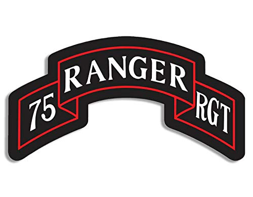 - JR Studio 3x5 inch 75th Ranger Bn Insignia Shaped Sticker -Decal Shoulder tab Army 75 Logo Vinyl Decal Sticker Car Waterproof Car Decal Bumper Sticker