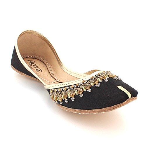 AARZ LONDON Women Ladies Traditional Handmade Ethnic Bridal Leather Flat Khussa Jutti Mojari Indian Pumps Slip On Shoes Size Black