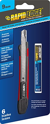 Rapid Edge All-Purpose 9mm Serrated Snap-Off Utility Knife with Acetone-Resistant Handle (Includes 5-Pack of Serrated Snap-Off Razor Blades)