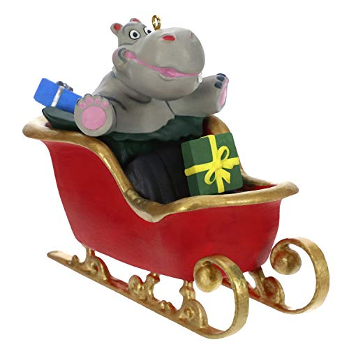 Hallmark Keepsake Ornament 2019 Year Dated Hippo in Sleigh Musical (Plays I Want a Hippopotamus for Christmas Song) (La Christmas Ornament)