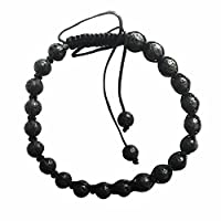 Rave Mens Bracelet Shamballa Black Lava Round Beads Wax Cord Size Adjustable