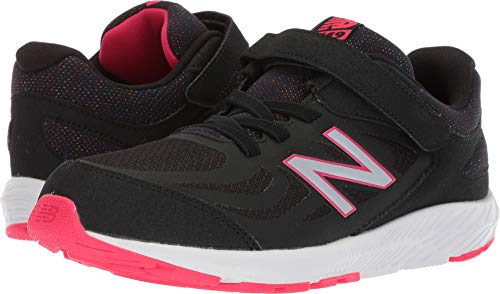 New Balance Girls' 519v1 Hook and Loop Running Shoe, Black/Rainbow, 2 M US Little Kid
