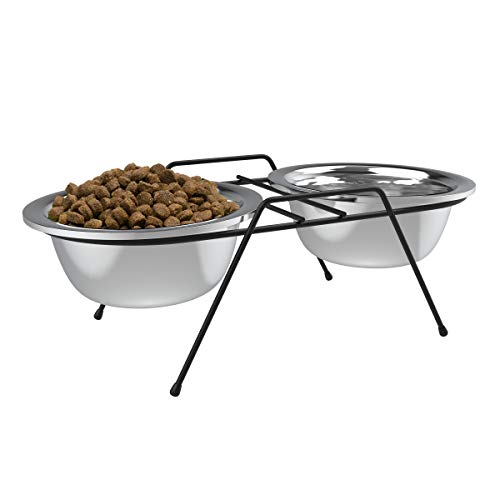 (PETMAKER Stainless Steel Elevated Pet Bowls with Nonslip Iron Stand for Dogs, Cats- Raised Feeder for Food, Water with Removable Dishes- 40 oz Each)