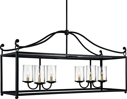 "Feiss F2971/6AF Declaration Glass Candle Island Chandelier Lighting, Iron, 6-Light (41""W x 22""H) 360watts from Feiss"
