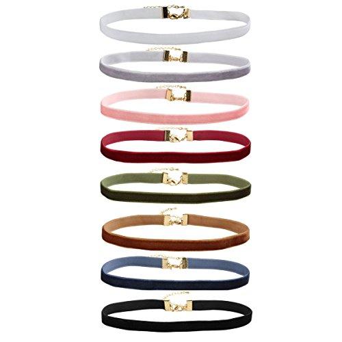 (Eigso 8Pcs Girls Womens Velvet Ribbon Choker Necklace Set with Extender Chain)