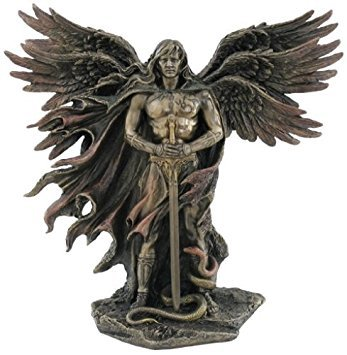 - Six Winged Guardian Angel with Sword and Serpent 11 Inch Colored Cold Cast Bronze Statue