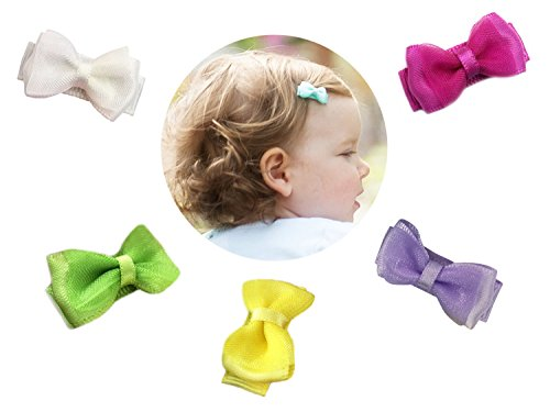 S Tiny Hairclip Satin Organza Hair Bows Baby Girls Toddlers Infant Clips Easter Gift Set (Tiny Infant Light)