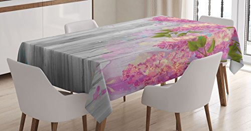 Lilac Table Cover - Ambesonne Flower Tablecloth, Floral Decor Watercolor Style Effect Branches of Lilac on Wooden Background Print, Dining Room Kitchen Rectangular Table Cover, 60W X 84L inches, Grey and Pink