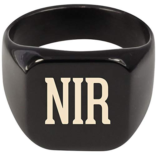 Molandra Products NIR - Adult Last Name Stainless Steel Ring, Black, 8 (Best Infrared Sauna On The Market)