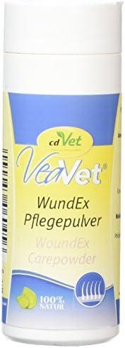 cdVet Naturprodukte VeaVet WundEx Pflegepuder 70 g - Hund, Katze, Pferd - Pflege + Feuchtigkeitsbindung - gestresste + wundgeplagte + Ekzemen neigende Hautstellen - absorbiert + bindet -