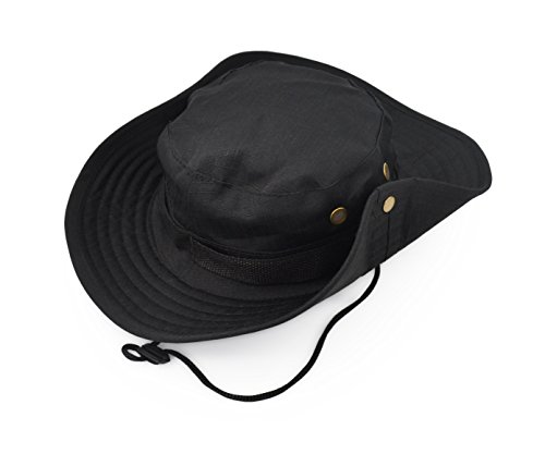 Black Jungle Hat - Outdoor Wide Brim Sun Protect Hat, Classic US Combat Army Style Bush Jungle Sun Cap for Fishing Hunting Camping 2