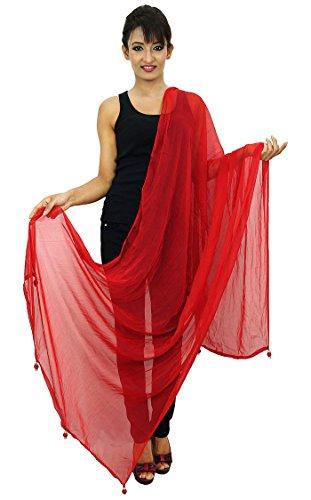 bufanda Moda Indian Chunni verano Mujer Bufandas Dupatta de Blend Rojo Chiffon 7ZTw0R