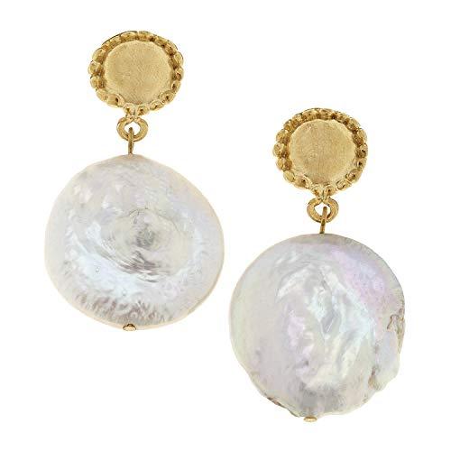 Gold Antonio Coins San (Susan Shaw Large Coin Pearl Earrings)