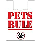 Plasticplace Super Strong Large Plastic Shopping Bags - White,''Pets Rule'', 19x23, 500/Case