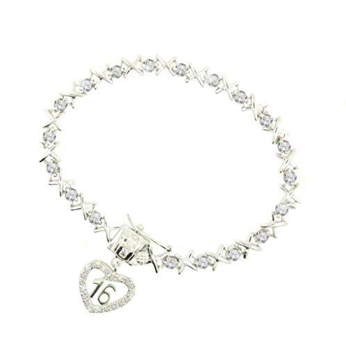 Sterling Silver Crystal Kisses Sweet 16 -