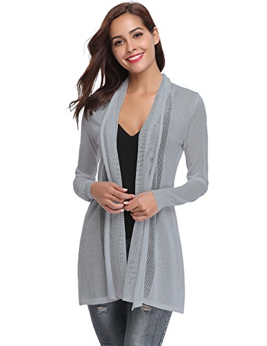 Gray Long Sleeve Sweater - Abollria Long Open Front Lightweight Breathable Cardigans Sweaters(Gray,M)
