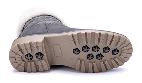 Schuhtempel24 Damen Schuhe Boots Stiefel Stiefeletten Blockabsatz 4 cm Grau