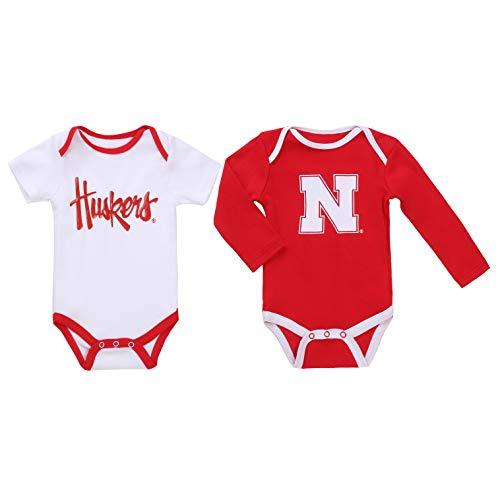 (NCAA Nebraska Cornhuskers 2 pcs Baby Bodysuits (6-9) Red)