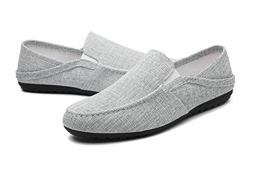 Rayas Mocasines Gray Azul Negro Gris Suela para de Dedos Goma Superior Lino Zapatos a Redondos Hombres de Zapatos para y Verano 362 FgwxqXwH