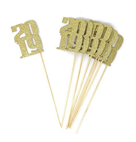 PaperGala 8 pack of Gold 2019 Centerpiece Sticks