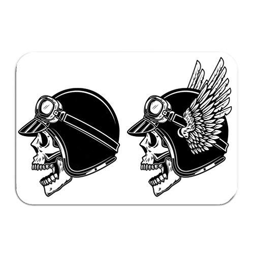 (Outside Shoe Non-slip Color Dot Doormat biker skull winged racer helmet design element logo label emblem sign poster banner biker skull winged racer Mats Entrance Rugs carpet 16 24 inch)