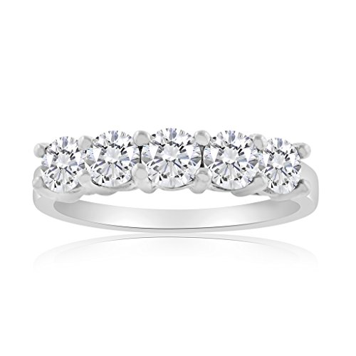 1/2ctw Diamond Five Stone Band in 10k White (10k Wg Diamond Band)