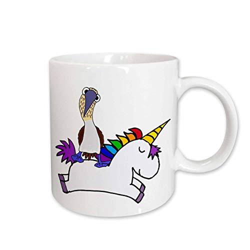 3dRose All Smiles Art - Unicorns and Dragons - Funny Cute Blue-footed Booby Bird Riding White Magical Flying Unicorn - 11oz Two-Tone Yellow Mug (mug_317701_8)