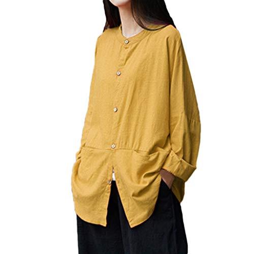 白雪姫半円引っ張るシャツ レディース E-Bears 無地 丸首 長袖 綿麻 トップス 大きいサイズ ブラウス Tシャツ カジュアル ゆったり 秋 冬 森ガール おしゃれ 自然風 中華風