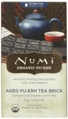 Numi Organic Tea Aged Pu-erh Tea Brick, 12 Portion Brick, 48 Servings 2.2 Ounce