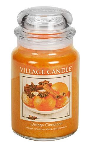 (Village Candle Orange Cinnamon 26 oz Glass Jar Scented Candle, Large)