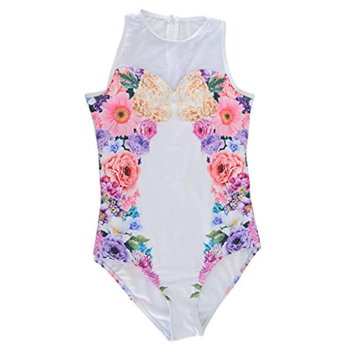Suppion Women's Flower Print Swimwear One-Piece Swimwear Swimsuit Bikini White (La Alexandria Shops Flower)