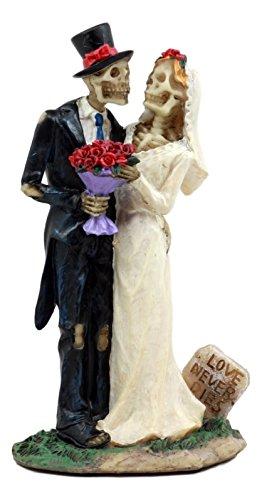 Ebros Gift Day of The Dead DOD Skeleton Bride & Groom with Rose Flower Bouquet Figurine Love Never Dies Wedding Ceremony Skeleton Lovers Statue]()