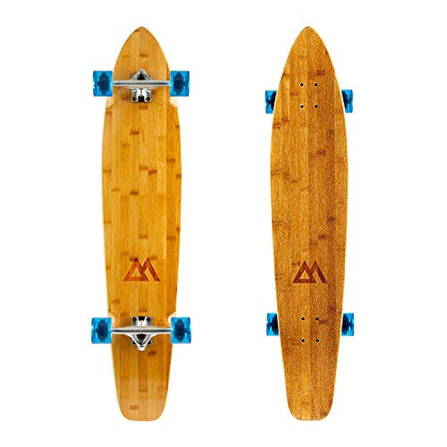Magneto 44 inch Kicktail Cruiser Longboard Skateboard | Bamboo and Hard Maple Deck | Made for Adults, Teens, and Kids ... (Blue) ()