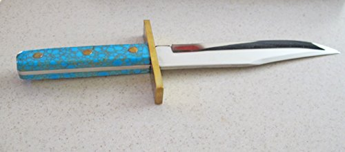 Alamo Bowie Blade with Gold Matrix Turquoise Handle -- a Great Gift for a Knife Collector by Southwestern Designs by Carol