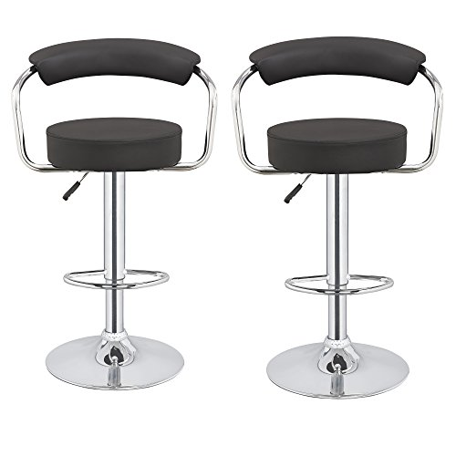 Homegear 2 x M1 50s Diner Adjustable Swivel Faux Leather Bar Stools Black
