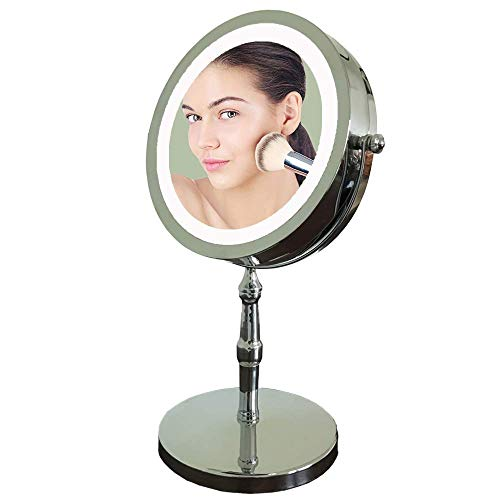 Lansi Lighted Makeup Mirror,5X Magnifying Mirror with Light,LED Vanity Mirror,Double-sided Cosmetic Mirror with Manual Switch,Round Shape,360° Rotation