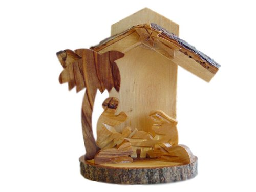 Olive Wood Xmas Creche Nativity With Bark Bethlehem (BIS14) by HolyRoses (Image #2)