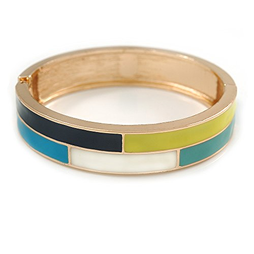 Blue/White/Lemon Enamel Oval Hinged Bangle Bracelet in Gold Tone Metal - 20cm L