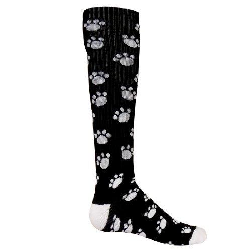 (Red Lion 793423UT Paws Knee High Sock ( Black / White - Small ))